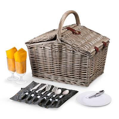 """""""Piccadilly"""" Service for 2 Gray and Gold Picnic Basket Set, , default"""