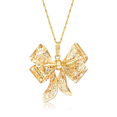 Italian Filigree Bow Pendant Necklace in 14kt Yellow Gold, , default