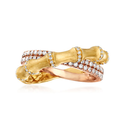 C. 1990 Vintage .70 ct. t.w. Diamond Crossover Double-Band Ring in 14kt Two-Tone Gold