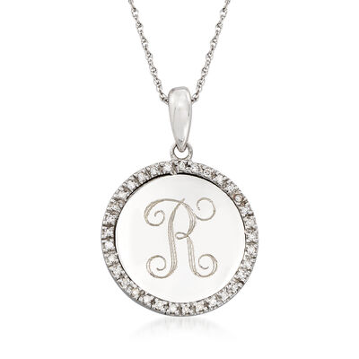 .10 ct. t.w. Diamond Personalized Pendant Necklace in 14kt White Gold, , default