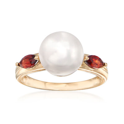 9.5-10mm Cultured Pearl and .60 ct. t.w. Garnet Ring in 14kt Yellow Gold, , default