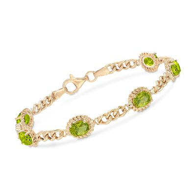5.00 ct. t.w. Peridot Link Bracelet in 18kt Gold Over Sterling Silver, , default