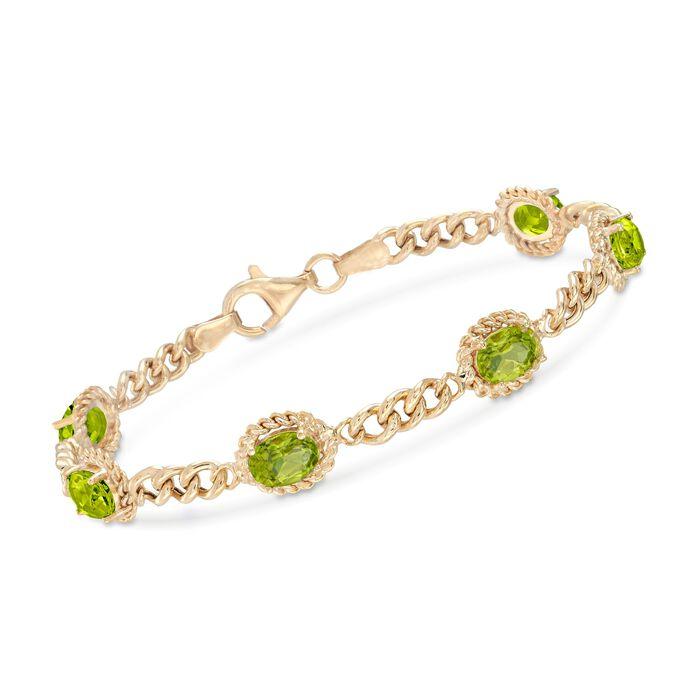 5.00 ct. t.w. Peridot Link Bracelet in 18kt Gold Over Sterling Silver