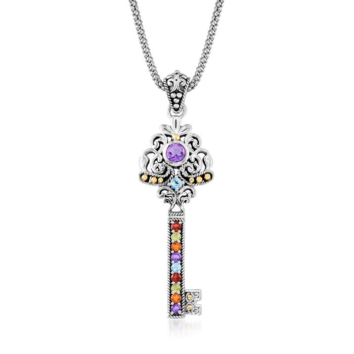 ".90 ct. t.w. Multi-Gemstone Key Pendant Necklace in Sterling Silver with 18kt Yellow Gold. 18"", , default"