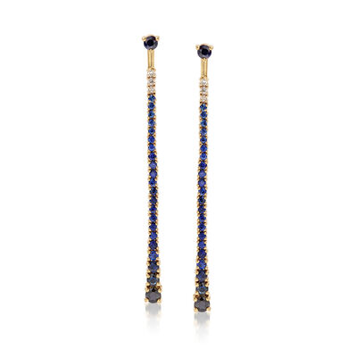 2.40 ct. t.w. Sapphire and .11 ct. t.w. Diamond Front-Back Earrings in 18kt Yellow Gold, , default