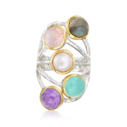 Multi-Stone Cabochon Ring in Two-Tone Sterling Silver, , default