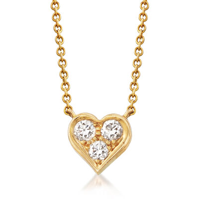 C. 1980 Vintage Tiffany Jewelry .20 ct. t.w. Diamond Heart Necklace in 18kt Yellow Gold, , default