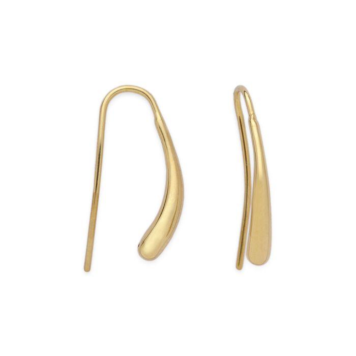 14kt Yellow Gold Elongated Teardrop Earrings, , default