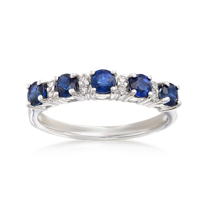 .70 ct. t.w. Sapphire Five-Stone Ring with Diamond Accents in 14kt White Gold, , default