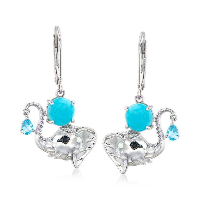 Turquoise and .30 ct. t.w. Swiss Blue Topaz Elephant Drop Earrings in Sterling Silver