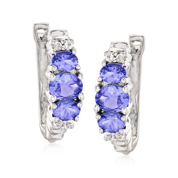 """1.30 ct. t.w. Tanzanite and .20 ct. t.w. White Topaz Earrings in Sterling Silver. 5/8"""""""