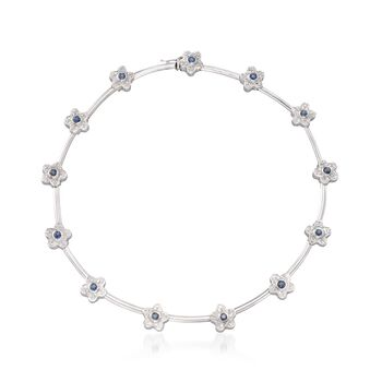 """C. 1990 Vintage 2.00 ct. t.w. Sapphire and 2.00 ct. t.w. Diamond Floral Necklace in 18kt White Gold. 15.5"""", , default"""