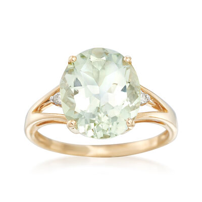 4.00 Carat Green Prasiolite Ring with Diamond Accents in 14kt Yellow Gold, , default