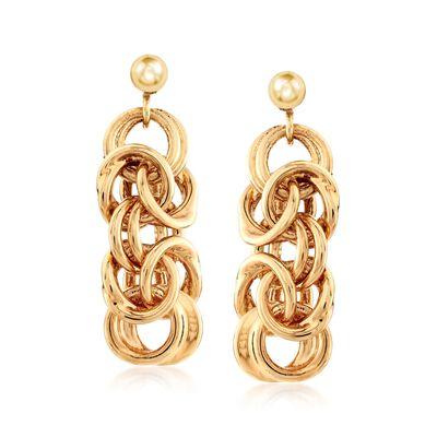 Italian Andiamo 14kt Yellow Gold Byzantine-Link Drop Earrings, , default