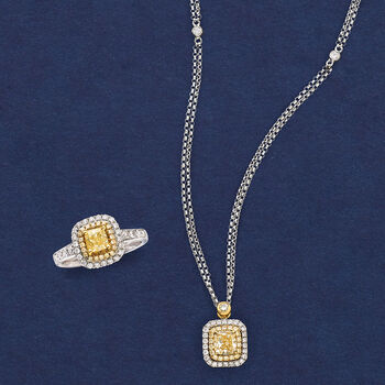 .91 ct. t.w. Yellow Diamond Necklace with Diamond Accents in 18kt Two-Tone Gold, , default