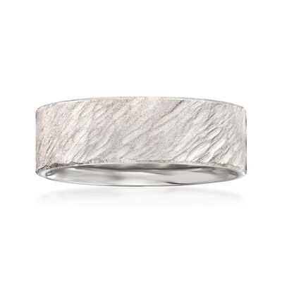 Men's 7mm 14kt White Gold Diagonal Bark Wedding Band