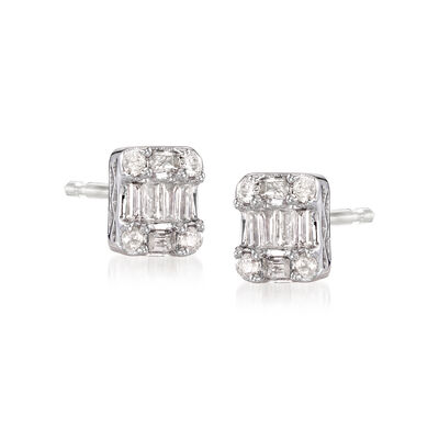 .25 ct. t.w. Baguette and Round Diamond Cluster Earrings in 14kt White Gold, , default