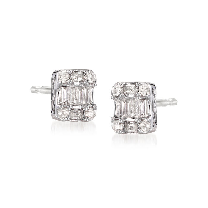 .25 ct. t.w. Baguette and Round Diamond Cluster Earrings in 14kt White Gold