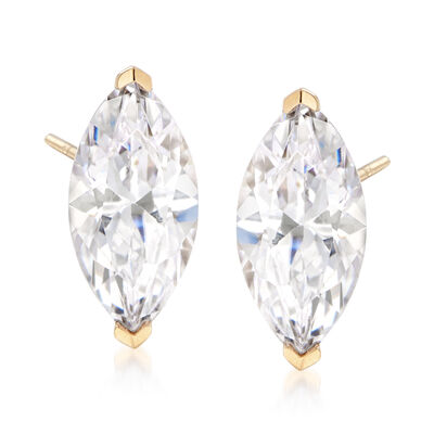 3.00 ct. t.w. Marquise CZ Stud Earrings in 14kt Yellow Gold, , default