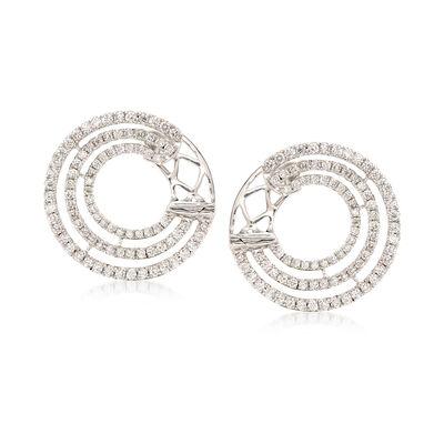 .96 ct. t.w. Diamond Multi-Circle Hoop Earrings in 18kt White Gold, , default