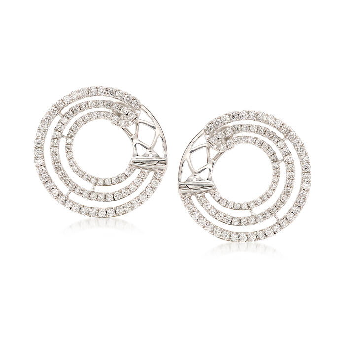 ".96 ct. t.w. Diamond Multi-Circle Hoop Earrings in 18kt White Gold. 5/8"", , default"