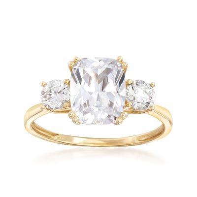 3.50 ct. t.w. CZ Three-Stone Ring in 14kt Yellow Gold, , default