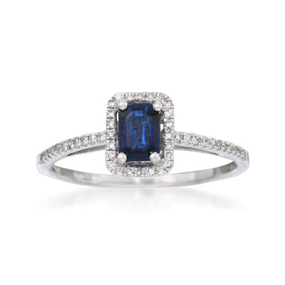 .65 Carat Sapphire and .20 ct. t.w. Diamond Ring in 14kt White Gold, , default