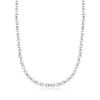 Sterling Silver Ridged Oval-Link Necklace, , default