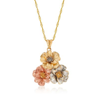 Italian 18kt Tri-Colored Gold Floral Pendant Necklace, , default