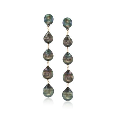 9-11mm Black Cultured Tahitian Baroque Pearl Linear Drop Earrings in 14kt Yellow Gold, , default