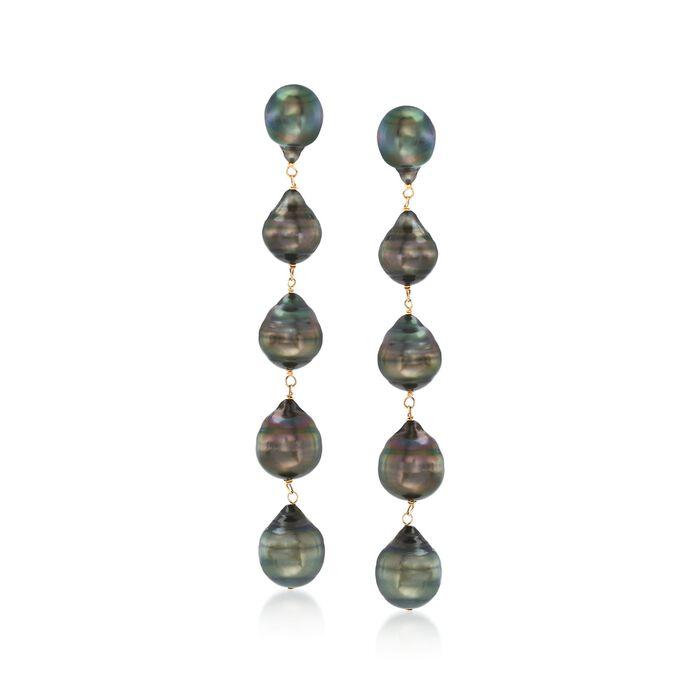 9-11mm Black Cultured Tahitian Baroque Pearl Linear Drop Earrings in 14kt Yellow Gold, , default