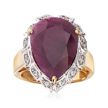 9.75 Carat Pear-Shaped Ruby and .10 ct. t.w. White Topaz Ring in 18kt Gold Over Sterling, , default