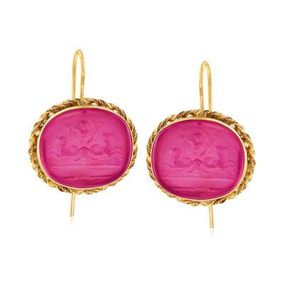 Italian Pink Venetian Glass Intaglio Drop Earrings in 18kt Gold Over Sterling