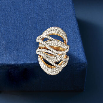 2.75 ct. t.w. Diamond Crisscross Ring in 18kt Yellow Gold. Size 7, , default