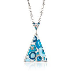 "Belle Etoile ""Groovy"" Aqua Enamel Pendant With CZ Accents in Sterling Silver, , default"
