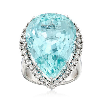 20.00 Carat Aquamarine and .84 ct. t.w. Diamond Ring in 14kt White Gold, , default