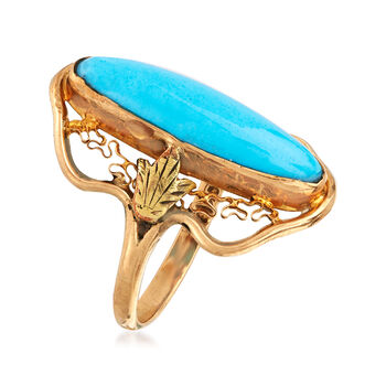 C. 1950 Vintage Oval Turquoise Ring in 10kt Yellow Gold. Size 7, , default