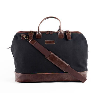 """Brouk & Co. """"Ethan"""" Black Weekender Bag with Faux Brown Leather, , default"""