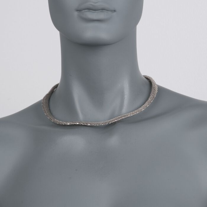 """Italian Sterling Silver Tapered Mesh Necklace. 17"""", , default"""