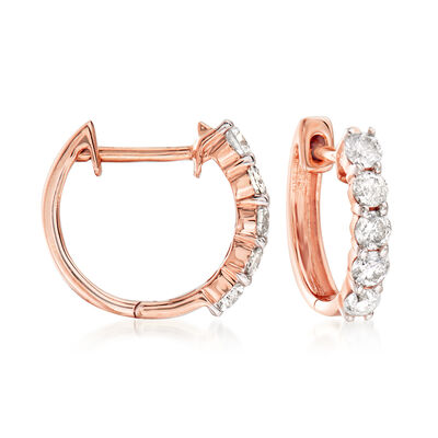 .50 ct. t.w. Diamond Huggie Hoop Earrings in 14kt Rose Gold
