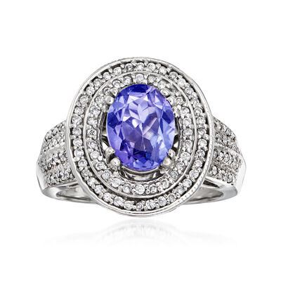 2.00 Carat Tanzanite and .77 ct. t.w. Diamond Oval Ring in 14kt White Gold