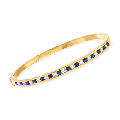 C. 1980 Vintage 2.10 ct. t.w. Sapphire and 1.00 ct. t.w. Diamond Bangle Bracelet in 14kt Yellow Gold, , default
