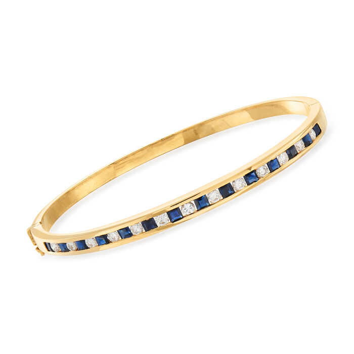 """C. 1980 Vintage 2.10 ct. t.w. Sapphire and 1.00 ct. t.w. Diamond Bangle Bracelet in 14kt Yellow Gold. 7"""""""
