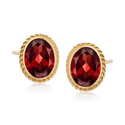1.40 ct. t.w. Garnet Earrings in 14kt Yellow Gold, , default