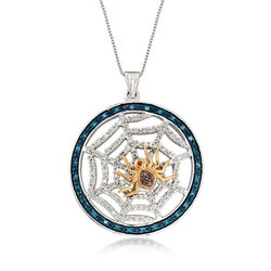 .56 ct. t.w. Multicolored Diamond Spider and Web Pendant Necklace in Two-Tone Sterling Silver, , default