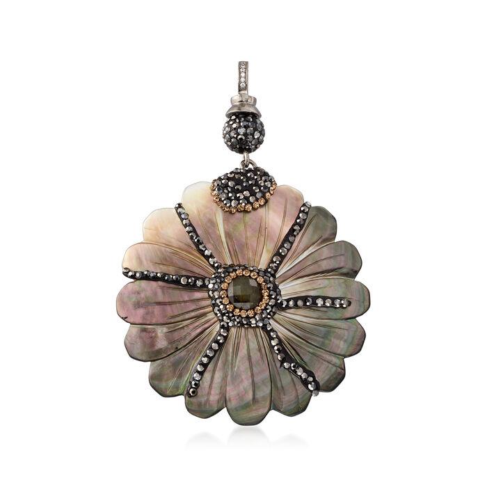 Multi-Stone Flower Pendant , , default