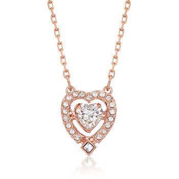 """Swarovski Crystal """"Sparkling Dance"""" Floating Crystal Heart Necklace in Rose Gold Plate. 14.75"""", , default"""
