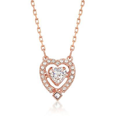 "Swarovski Crystal ""Sparkling Dance"" Floating Crystal Heart Necklace in Rose Gold Plate, , default"