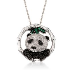 Black Spinel and .25 ct. t.w. Diamond Panda Pin Pendant Necklace With Emeralds in Sterling Silver, , default
