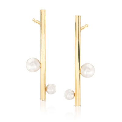 4-7mm Cultured Pearl Linear Bar Drop Earrings in 14kt Yellow Gold, , default